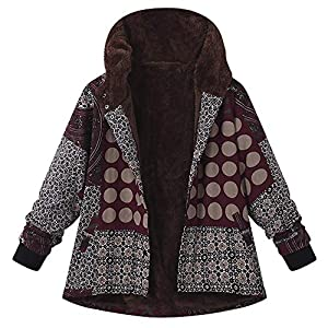 XOWRTE Women's Cotton Plus Size Vintage Fleece Thick Zipper Long Sleeve Winter Hooded Jacket Coat