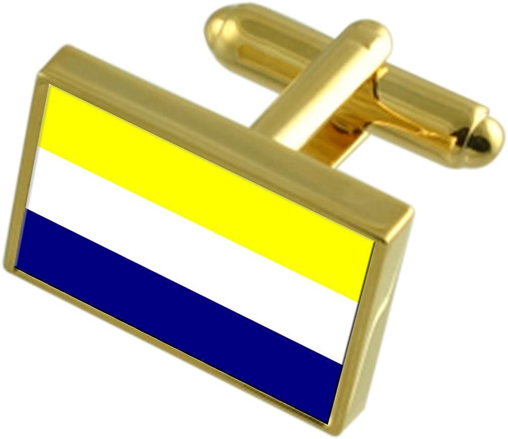 Daule City Ecuador Gold-tone Flag Cufflinks Engraved Box