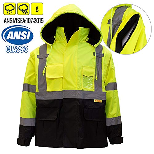 New York Hi-Viz Workwear J8512-L Men's Ansi Class 3 High Visibility Safety Bomber Jacket With Zipper, PVC Pocket, Black Bottom and Detachable sleeve (Large, Lime)