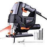 Tacklife 6.7 Amp Laser Jig Saw with LED Light, Variable Speed Includes Carrying Case, 6pcs Jigsaw Blades, Metal Guide Ruler, Dust Exhaust Pipe, Allen Wrench, Aluminum Base   PJS02A