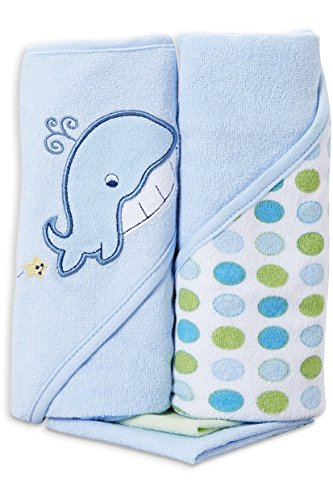 Spasilk Hooded Terry Bath Towel with Washcloths, Whale Blue, 2-Count ()