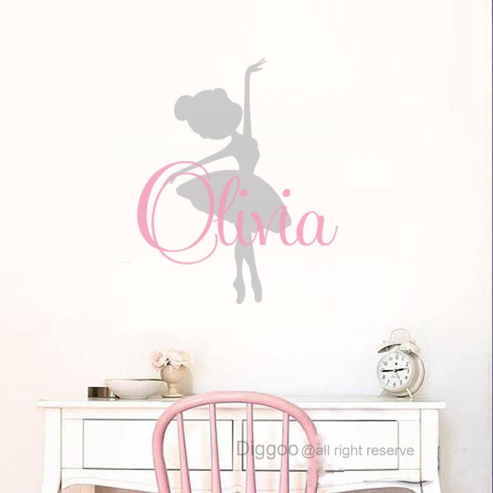 Little Ballerina Wall Decal Personalized Girls Name Decal Ballet Dancer Sticker For Girls Bedroom Decor (22''h x 18''w PLUS FREE WELCOME DOOR DECAL)