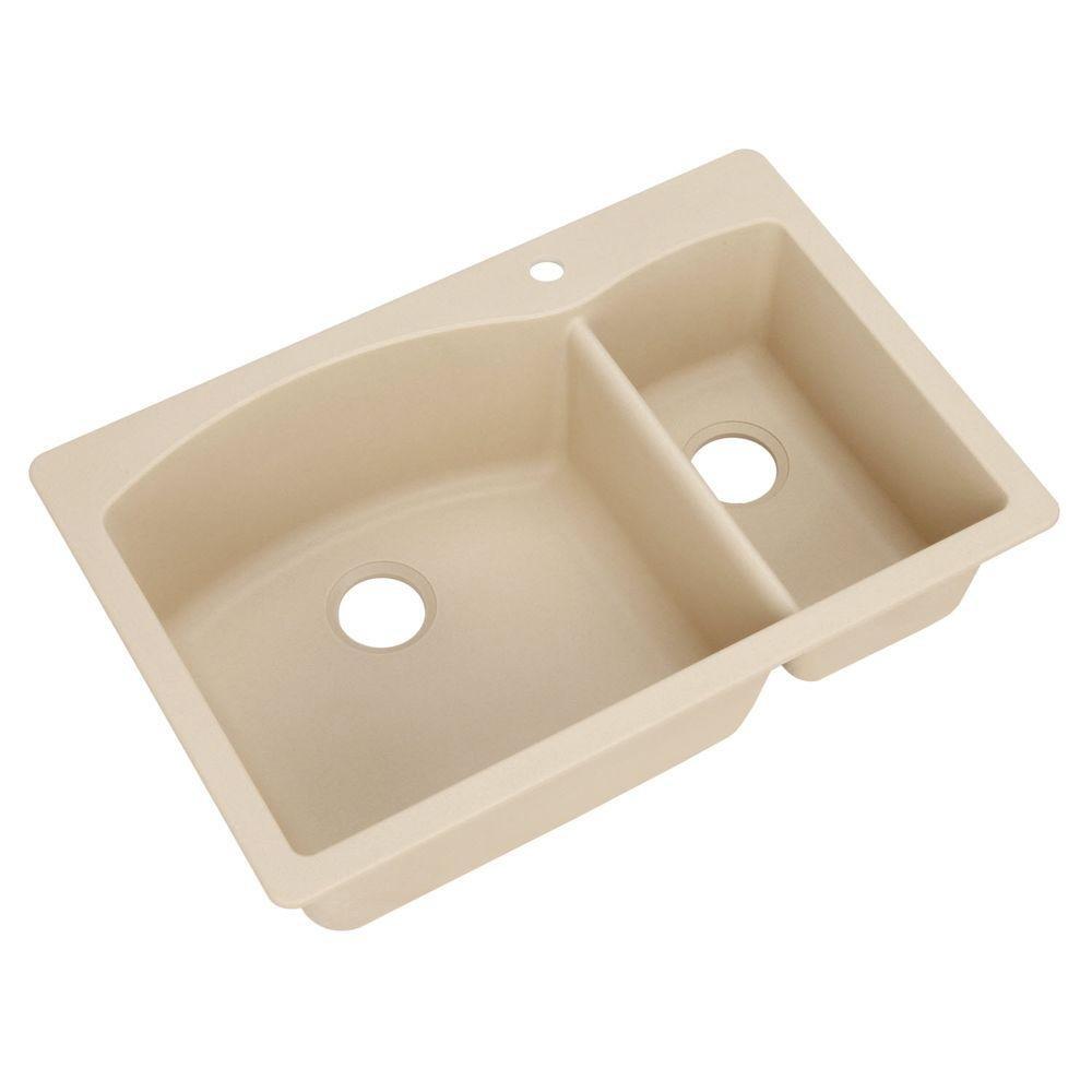 Blanco, Biscotti 441221 Diamond SILGRANIT 33 Double Bowl Undermount or Drop-in Kitchen Sink, 1 Hole