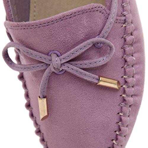 Meeshine Womens Casual Bowknot Mokassins Driving Loafers Beleg auf flache Schuhe Lila