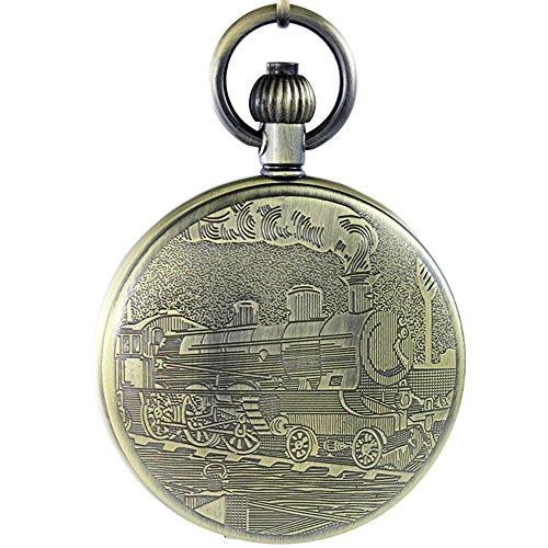 OGLE Waterproof Retro Bronze Train Calendar Date Black Chain Fob Self Winding Automatic Skeleton Mechanical Pocket Watch