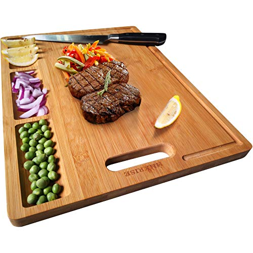Large Organic Bamboo Cutting Board For Kitchen, With 3 Built-In Compartments And Juice Grooves, Heavy Duty Chopping Board For Meats Bread Fruits, Butcher Block, Carving Board, BPA Free (Chopping Board Bamboo)