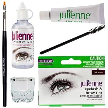 Julienne Eyelash Eyebrow Tint Tinting Kit Dye Dark Brown Tint ...
