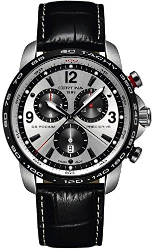 Certina DS Podium Big Size Chronograph Silver and Black Dial Black Leather Mens Watch C0016471603700