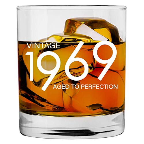 1969 50th Birthday Gifts for Men and Women Whiskey Glass | Bourbon Scotch Glasses 50th Bday Gift Ideas for Him Her Dad Mom Husband Wife | 11 oz Whisky Old Fashioned Bar Glasses Lowball Decorations (Bday Him For Gift Ideas)