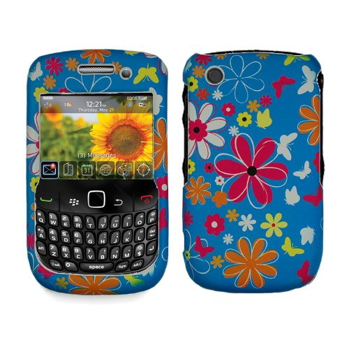 Rubberized Blue White Pink Yellow Orange Colorful Flower Butterfly Snap on Design Case Hard Case Skin Cover Faceplate for Blackberry Curve 3g 9300 9330 8520 8530 + Screen Protector Film -