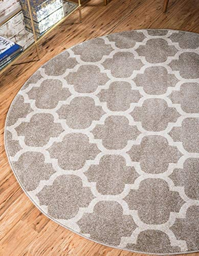 Unique Loom Trellis Collection Moroccan Lattice Tan Round Rug 8 0 x 8 0