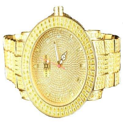 Elegante acabado dorado Full Kronos reloj hombres de acero bisel diamante Canarias: Amazon.es: Relojes