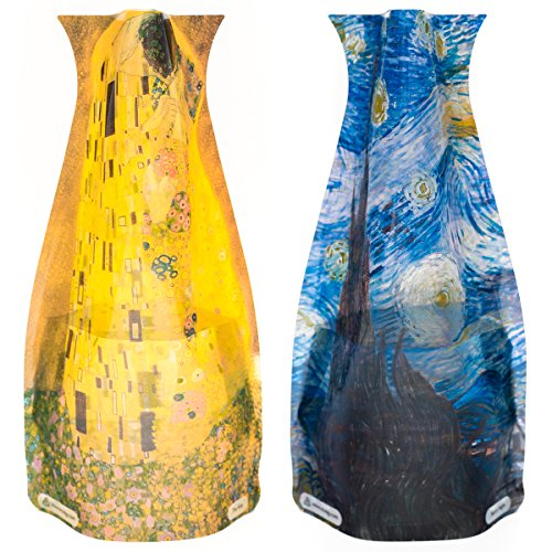 MODGY Collapsible & Expandable Plastic Vase Multi-Pack - NOT GLASS (Starry Night & The Kiss 2-Pack), Vincent Van Gogh, Gustav Klimt - Great for Parties, Pools, Patios, Weddings & Any Celebration