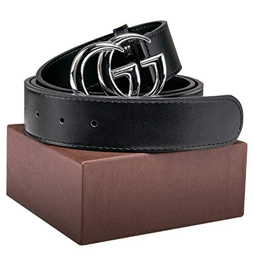 Luxury Gold/Silver Buckle GG Black genuine Leather Unisex Belt for Men or Women Pants Jeans Shorts Dresses ~ 3.8cm Belt ()