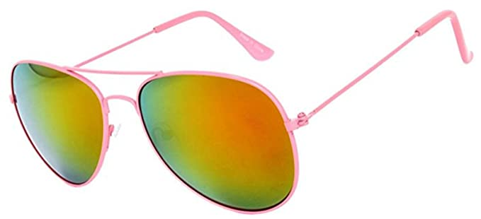 83393d28e6 Women Neon Pink Frame Aviator Sunglasses with Mirrored Lens Spring Hinge