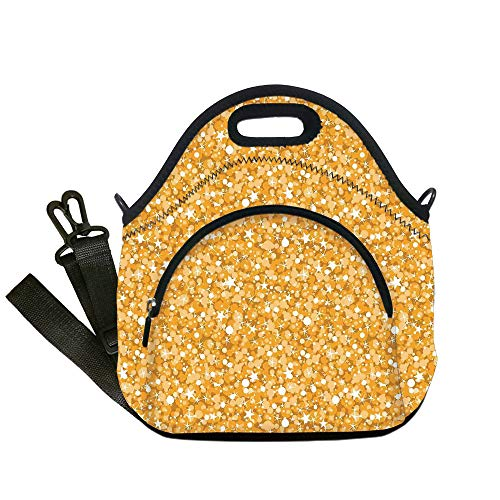 Insulated Lunch Bag,Neoprene Lunch Tote Bags,Yellow,Golden Texture with Dots and Stars Christmas Illuminated Decorative Decorative,Orange,for Adults and children