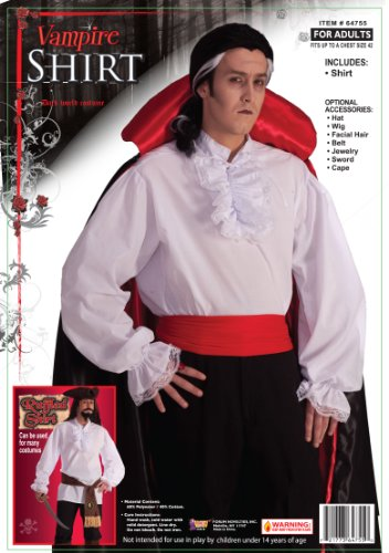 Vampire Pirate Costumes (Forum Novelties Ruffled Vampire Costume Shirt, White, One Size)