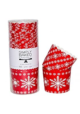 Simply Baked Large Paper Baking Cup, Red Holiday Snowflakes, 20-pack, Disposable and Oven-safe