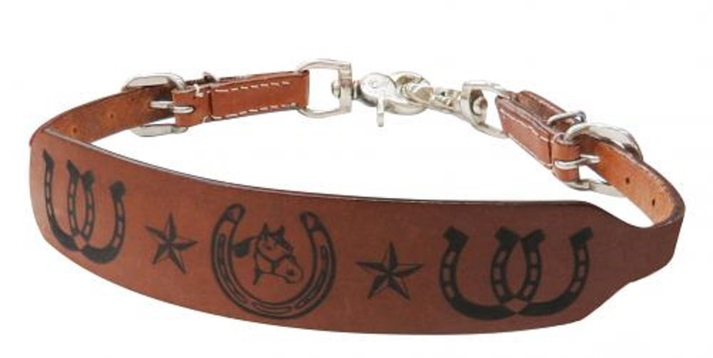 Showman Pony Size Leather Horsehead Horseshoe Stars Stamped Wither Strap Comes with 2 Scissor Snaps