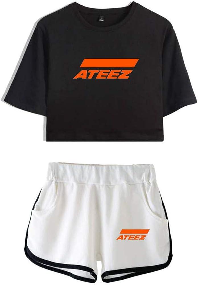 ATEEZ Camiseta Set Expuestos Pantalones Cortos Ombligo Traje De La Camiseta Crop Top T-Shirt Hong Joong Seong Hwa Yun Ho Yeo Sang San Min Gi Woo Young Jong Ho