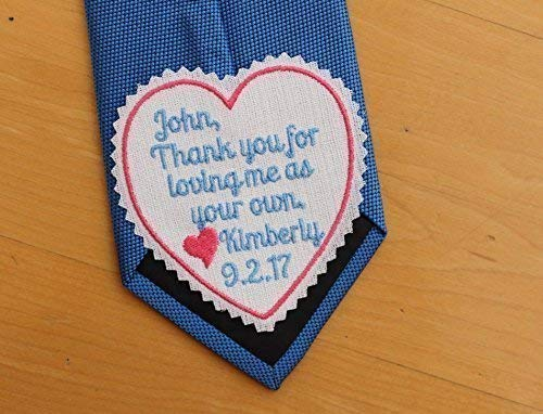 Step father tie patch, step dad gift, wedding gift from Bride, thank you for loving me as your own, iron-on available,iron on available. S6