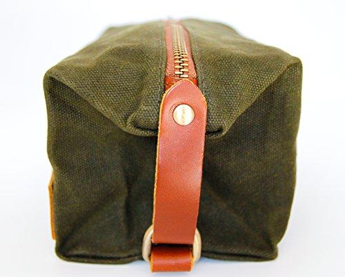 Zaffino Waxed Canvas Genuine Leather Trim Dopp Kit - Unisex Toiletry Bag & Travel Kit by Zaffino (Image #4)