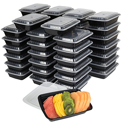 To Go Boxes (50-Pack Meal prep plastic microwavable food containers for meal prepping With Lids 28 oz. 1 Compartment Black Rectangular Reusable Storage Lunch Boxes -BPA-Free Food Grade -Freezer & Dishwasher)