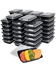 50-Pack meal prep Plastic Microwavable Food Containers for meal prepping & Tight Safety Lid Covers 28 oz. Black Rectangular Reusable Storage Lunch Boxes -BPA-Free Food Grade -Freezer & Dishwasher Safe