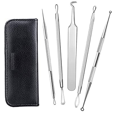 Blackhead Remover Kit ,Raniaco Surgical Stainless Steel Pimple Acne Comedone Blemish Whitehead Blackhead Extractor Tools Treatment - 2 Alcohol Pads and Leather Case Included