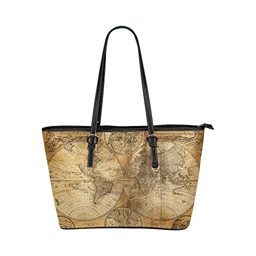InterestPrint Modern Vintage Antique World Map Leather Tote Shoulder Bags Handbags for Women