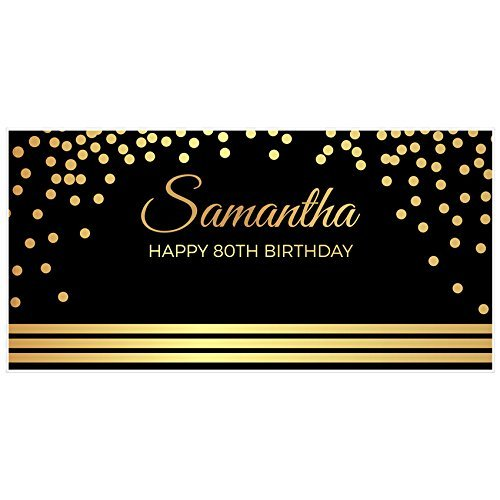 Elegant Gold and Black 80th Birthday Banner Party Backdrop ()