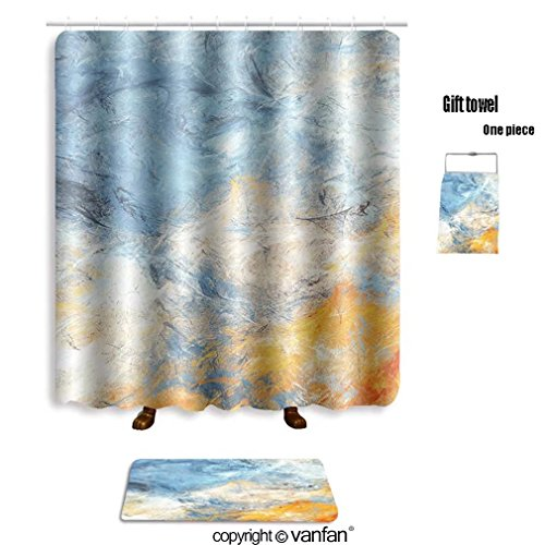 Cheap Vanfan Bath Sets With Polyester Rugs And Shower Curtain Abstract Sky Shiny Color Clouds