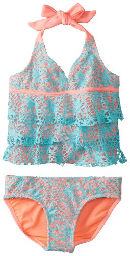 Kensie Little Girls'  Crochet Lace Ruffle Tankini Set, Aqua, 4