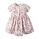 NUWFOR Toddler Kid Baby Girl Short Sleeve Floral Dress Princess Romper Dresses Clothes(Pink,9-12 Months)