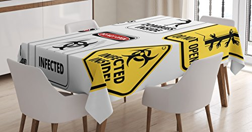 Zombie Decor Tablecloth by Ambesonne, Warning Signs for Evil Creatures Paranormal Construction Do Not Open Artwork, Dining Room Kitchen Rectangular Table Cover, 60 W X 90 L Inches, Multicolor by Ambesonne