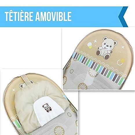 Monsieur B/éb/é /® zusammenfaltbarer Badewannensitz baby badesitz mit verstellbarer R/ückenlehne EG-Norm beige
