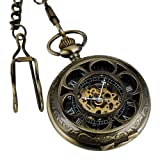 ESS Men's Stainless Steel Case Antique Skeleton Mechanical Pocket Watch with Chain WP081, Watch Central