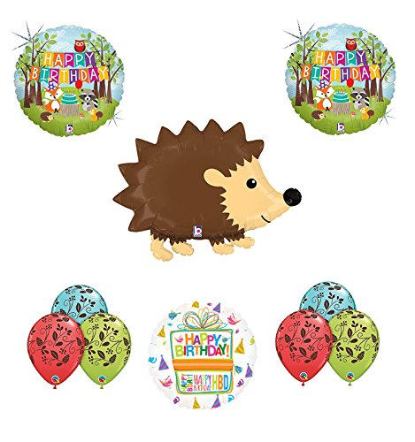Woodland Creatures Birthday Party Supplies Baby Shower Hedgehog Balloon Bouquet Decorations -