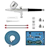 ABEST Professional 0.2mm\0.3mm\0.5mm Dual action AirBrush Spray Paint Gun Kit Complete Set with hose, nozzle, needle for Makeup, tattoo, hobby