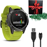 Gift Package: Garmin Golf GPS Watch Fenix 5S, Slate Gray with Amp Yellow Band + 1 USB Charging/Data Cable
