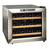 Wine Enthusiast 272 02 13W Silent 12 Bottle Wine Cooler (Stainless Steel/Wood Shelves), Silver