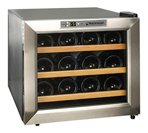 (Wine Enthusiast 272 02 13W Stainless Steel/Wood Shelves Silent 12-Bottle Wine Cooler, Stainless )