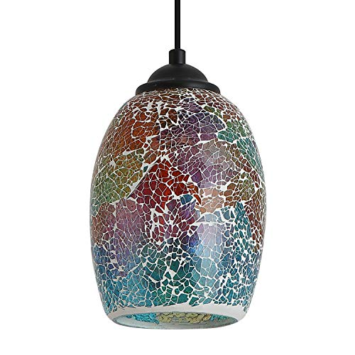 Island Lighting Kitchen Stained Glass - Contemporary Mini Pendant Light with Hand Crafted Mosaic Color Glass Shade, 1 Light Stained Glass Pendant Lighting for Kitchen Island Dining Room Bar Shop Restaurant