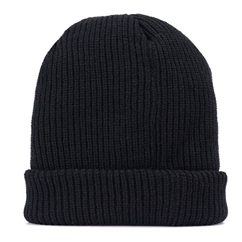 Paragon Winter Warm Knit Criss-Cross Fitting Skull Cap Beanie Fleece Lining Thick (Dark Black) (Double Layer Beanie)