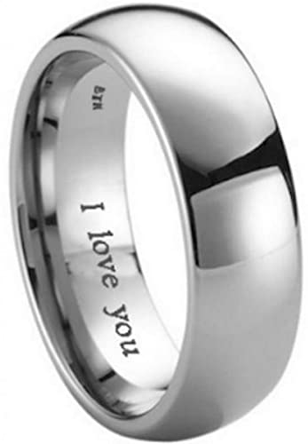 Mens Titanium Ring-8mm Engraved With I Love You Classic Unisex Wedding Engagement Comfort Fit Band Ring oRMJkRvdwc