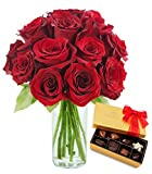 KaBloom Romantic Red Roses & Godiva Chocolate: Bouquet of 12 Red Roses with Vase and Godiva Chocolate