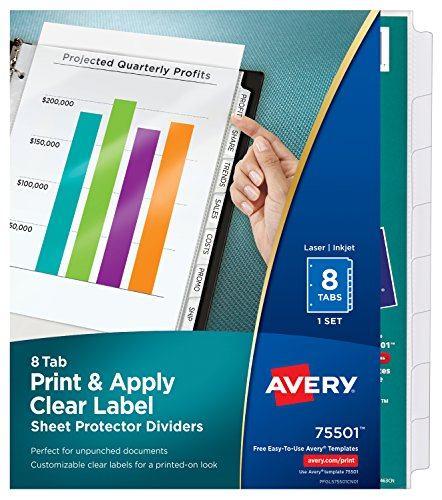 Avery 8 Tab Clear Label Dividers - Avery Index Maker Clear Pocket Clear Label Dividers, 8-Tab Set (75501)