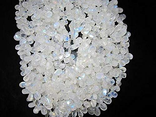 GemAbyss Beads Gemstone 7 Inch Long Rainbow Moonstone 6X10MM Side Drill Almond Beads Gemstone Loose Code-MVG-40045