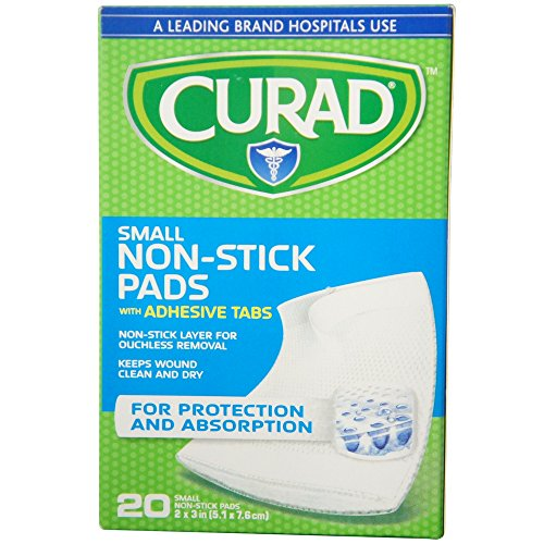 Curad Small Non-Stick Pads With Adhesive Tabs 2 Inches X 3 Inches 20 Each (Pack of 3) ()