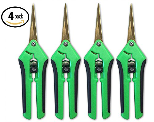 4 Pack Happy Hydro Straight Tip Trimming Scissors with Titanium Coated Blade, Pruning (Gardener Trimmer)